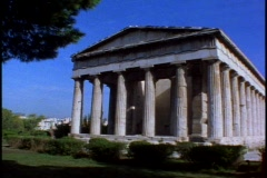 Temple of Hephaestus (will pass as Parthenon) M front, pan right Stock Footage