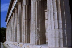 Temple of Hephaestus (will pass as Parthenon) detail of columns, tilt up Stock Footage
