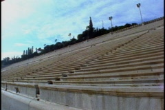Stadium, all marble, built for 1908 Olympics,  empty, pan right Stock Footage