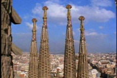 Barcelona, Gaudi, Church, 4 towers, wide overview of city Stock Footage