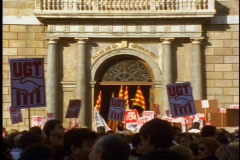 Workers Union demonstration, flag waving, yelling,  pandemonium Stock Footage