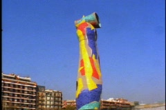 Large Jean Miro public mosaic statue, giant tower, still Stock Footage