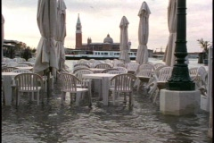 Venice Flood at High Tide, café chairs standing in water, Stock Footage