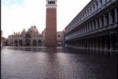 Venice, Piazza San Marco, Basilica, Campanile, piazza totally flooded Stock Footage