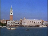Stock Video Footage of Venice POV pass left to right, Campanile and Doges Palace