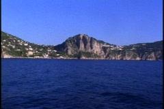 Isle of Capri, pass POV, very blue water Stock Footage