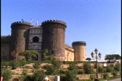 Castle Nuovo, grand fortress, pan right - stock footage