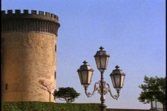 Castle Nuovo, grand fortress, detail of turret and lamp Stock Footage