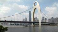 Liede Bridge and Guangzhou Skyline Stock Footage