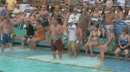 Stock Video Footage of Hot Sexy People Watch Funny Old Fat Men in a Belly Flop Contest on a Cruise S