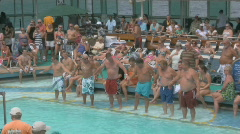Hot Sexy People Watch Funny Old Fat Men in a Belly Flop Contest on a Cruise S Stock Footage