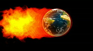 Earth fireball in flames on black background Stock Footage