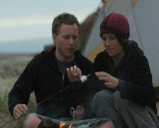 Couple roasting marshmallows Stock Footage