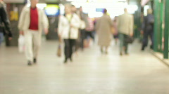 Crowd in underground tunnel Stock Footage