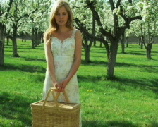 Woman standing in an orchard with a picnic basket Stock Footage