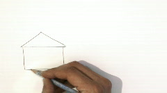 Hand drawing a house  Stock Footage