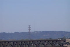 Ohio River K&I Bridge Zoom Out of Broadcast Tower - stock footage