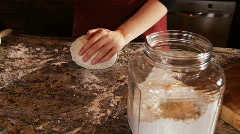 Hands kneading dough Stock Footage