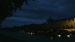 European city scene at night Stock Footage