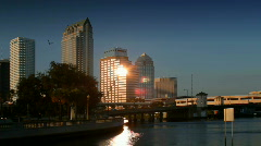 Downtown Tampa skyline in late afternoon Stock Footage
