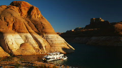 houseboat on a desert lake - stock footage