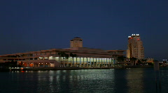 Tampa convention center after dark Stock Footage