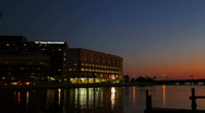 Stock Video Footage of Tampa General Hospital seen at sunset