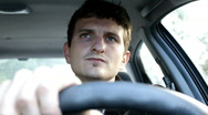 Man driving car driver seat Stock Footage