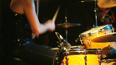 Drummer playing in a rock and roll concert with a band Stock Footage