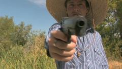 A Cowboy Shooting A Gun 14 Stock Footage