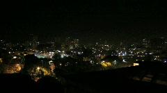 Slow Pan of City Skyline at Night - stock footage