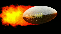 Rugby fireball in flames on black background  - stock footage