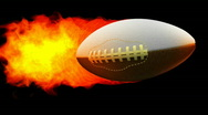 Rugby fireball in flames on black background  Stock Footage