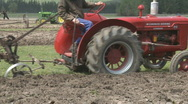 Stock Video Footage of vintage tractor and plough