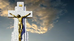 Jesus cross with timelapse clouds Stock Footage