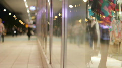 Shopping street at night Stock Footage