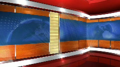 Virtual News Studio with Globe Animation Stock Footage