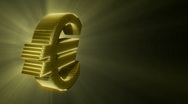 Stock Video Footage of Golden shining Euro Symbol