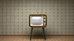 Old TV in room - good transition with green mask Stock Footage