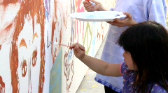 Children Painting Stock Footage