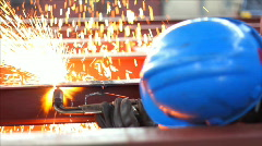 Worker cutting metal with a flame Stock Footage