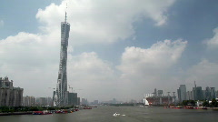 Guangzhou Skyline in the Pearl River Stock Footage
