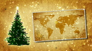 Christmas tree and map of World on the postcard.Retro style. Stock Footage