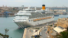 Cruise ship Costa Pacifica moored in the Grand Harbour Valetta Malta - stock footage
