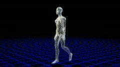 Wireframe woman walking viewed from all angles. Stock Footage