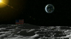 The Earth seen from the moon with an American flag moon landscape closing. Stock Footage