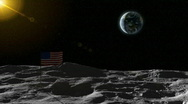 Stock Video Footage of The Earth seen from the moon with an American flag moon landscape closing.