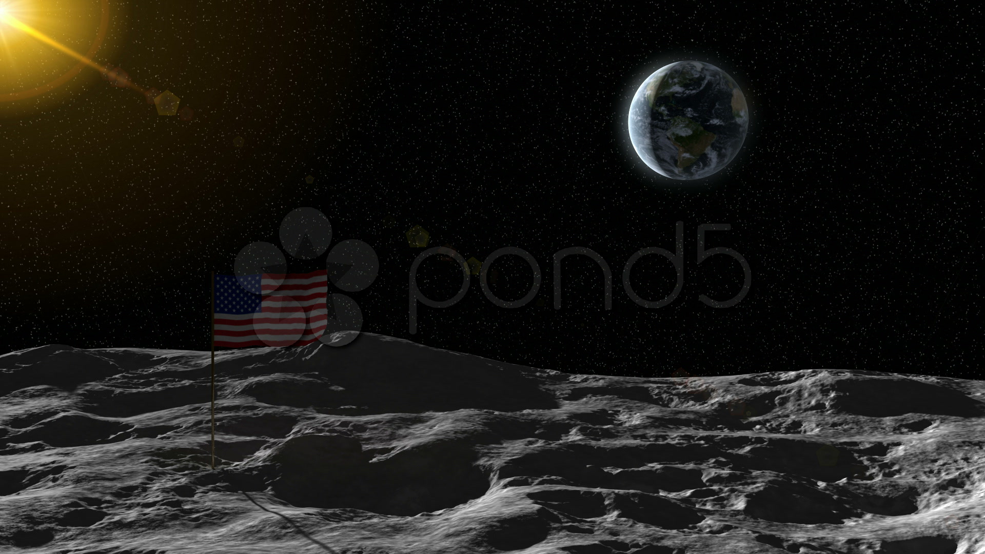 The Earth seen from the moon with an American flag moon ...