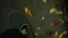 Skateboarding in fall Stock Footage