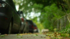 Parked cars in fall Stock Footage